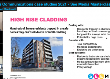 Presentation slide on high rise cladding showing image of a building, text and two speakers