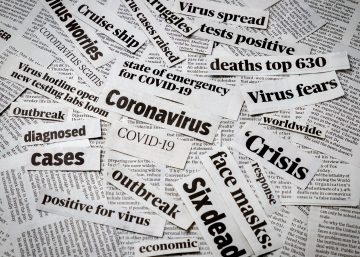 Cut outs of dramatic newspaper headlines